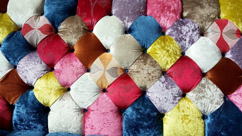 Kleurrijke texturen van de bank van de fluweeldoek stock fotografie