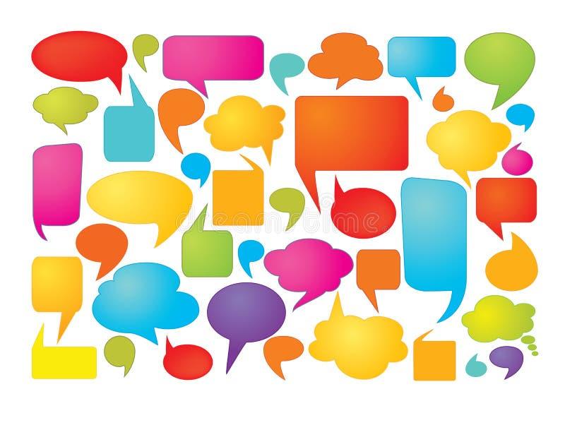 Kleurrijke toespraakbellen stock illustratie