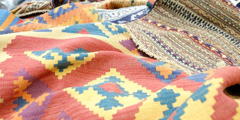 Kleurrijke traditionele Peruviaanse stijl, de oppervlakte van de close-updeken stock foto