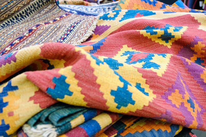 Kleurrijke traditionele Peruviaanse stijl, de oppervlakte van de close-updeken royalty-vrije stock afbeelding