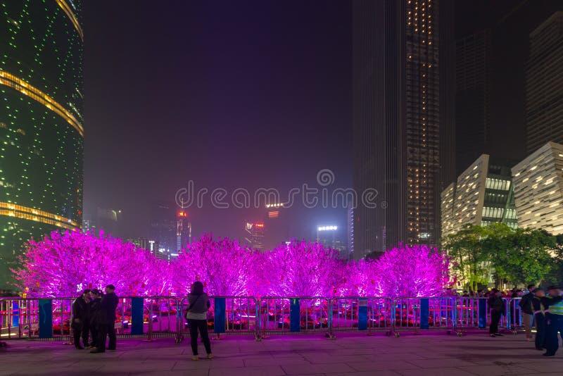 Kleurrijke trillende verlichting op bomen in China stock afbeelding