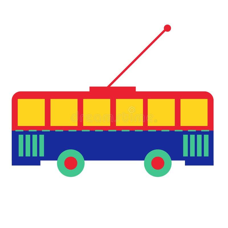 Kleurrijke trolleybus vlakke illustratie op wit royalty-vrije illustratie