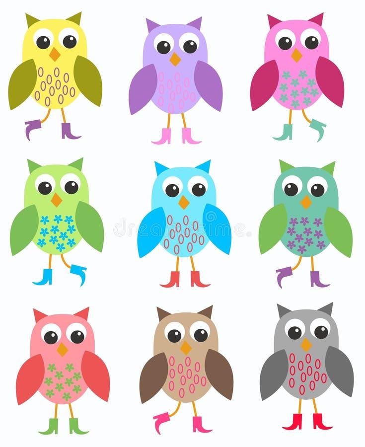 Kleurrijke uilen royalty-vrije illustratie