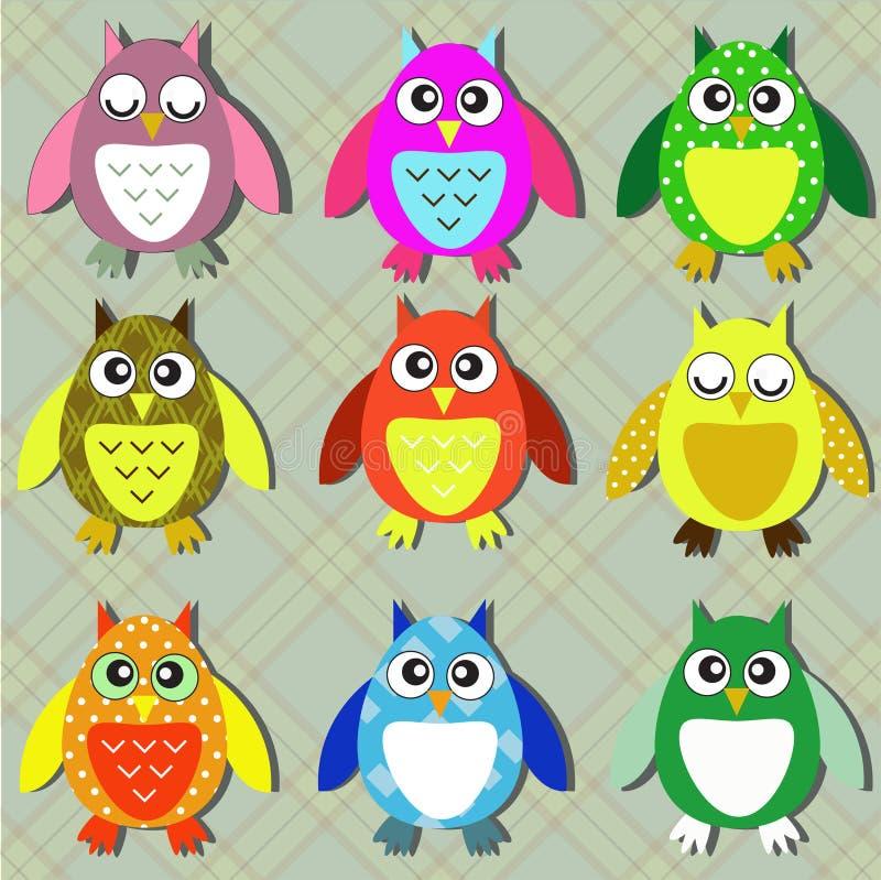 Kleurrijke uilen vector illustratie