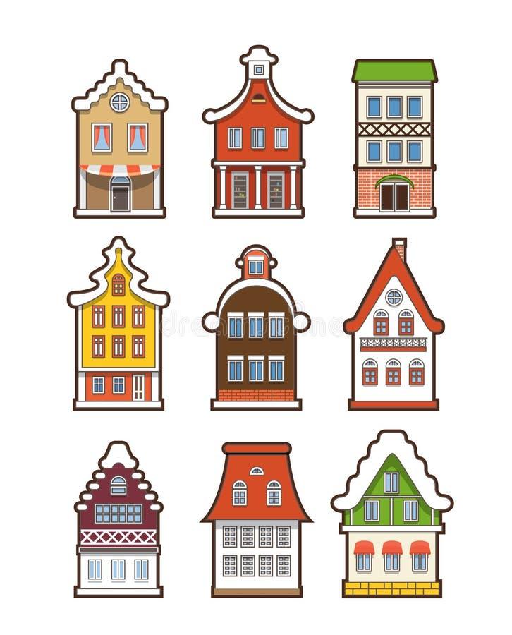 Kleurrijke uitstekende die huizen op wit worden geïsoleerd royalty-vrije illustratie