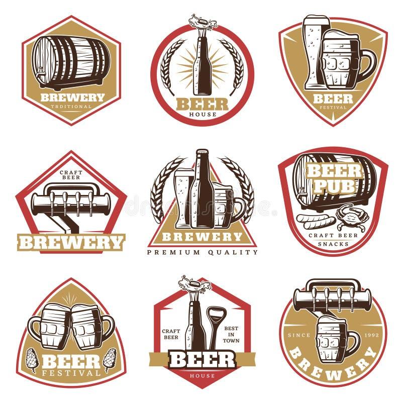 Kleurrijke Uitstekende Geplaatste Bieremblemen royalty-vrije illustratie