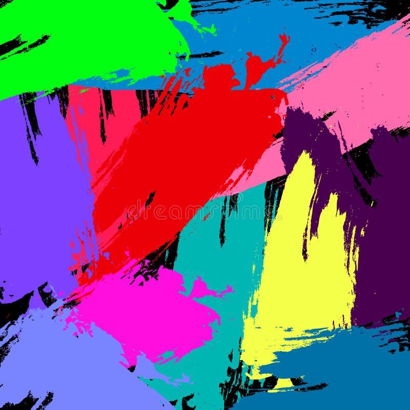 Kleurrijke uitstekende retro abstracte achtergrond van het Grunge strijkt de vectorpatroon met gemengde borstel rode roze gele pu stock illustratie