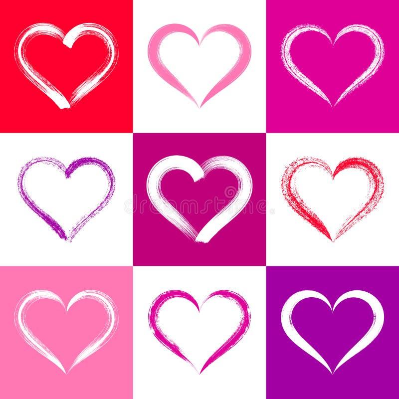 Kleurrijke valentijnskaartkaart met harten royalty-vrije illustratie
