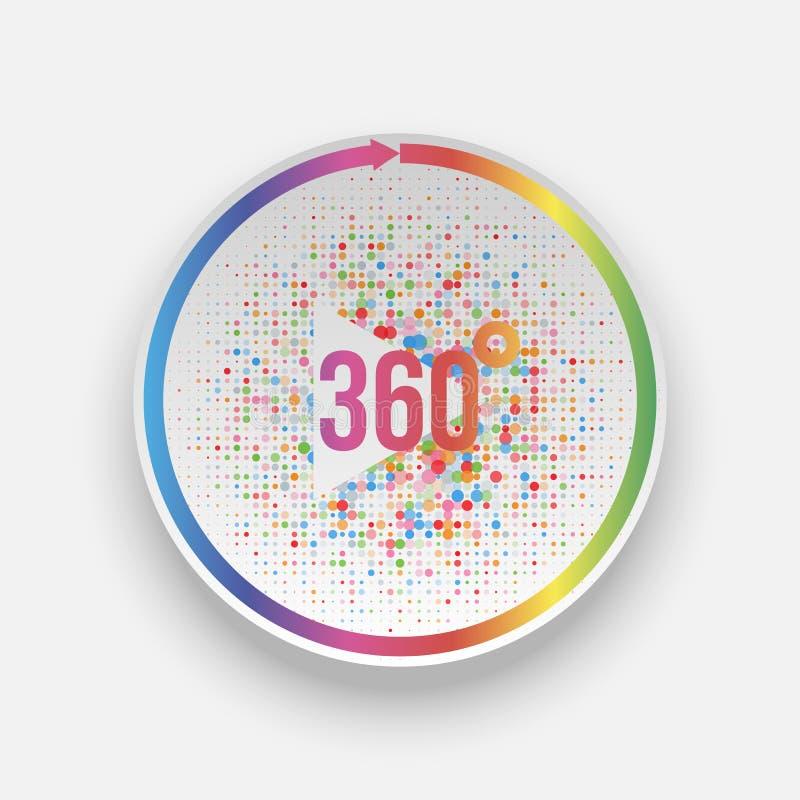Kleurrijke 360 van de spelgraden Knoop met Pijl royalty-vrije illustratie