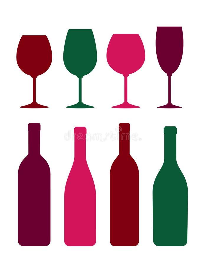 Kleurrijke van het wijnfles en glas reeks royalty-vrije illustratie