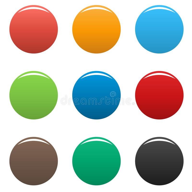 Kleurrijke vastgestelde eenvoudig van het knopenpictogram stock illustratie