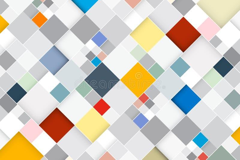 Kleurrijke Vector Abstracte Vierkante Retro Achtergrond stock illustratie