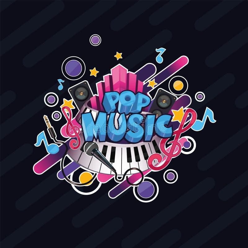 Kleurrijke vector gedetailleerde Popmuziekillustratie royalty-vrije illustratie