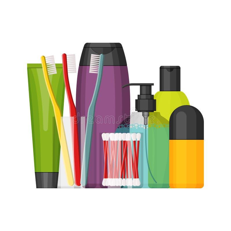 Kleurrijke vector kosmetische geplaatste flessen, vlak ontwerp royalty-vrije illustratie