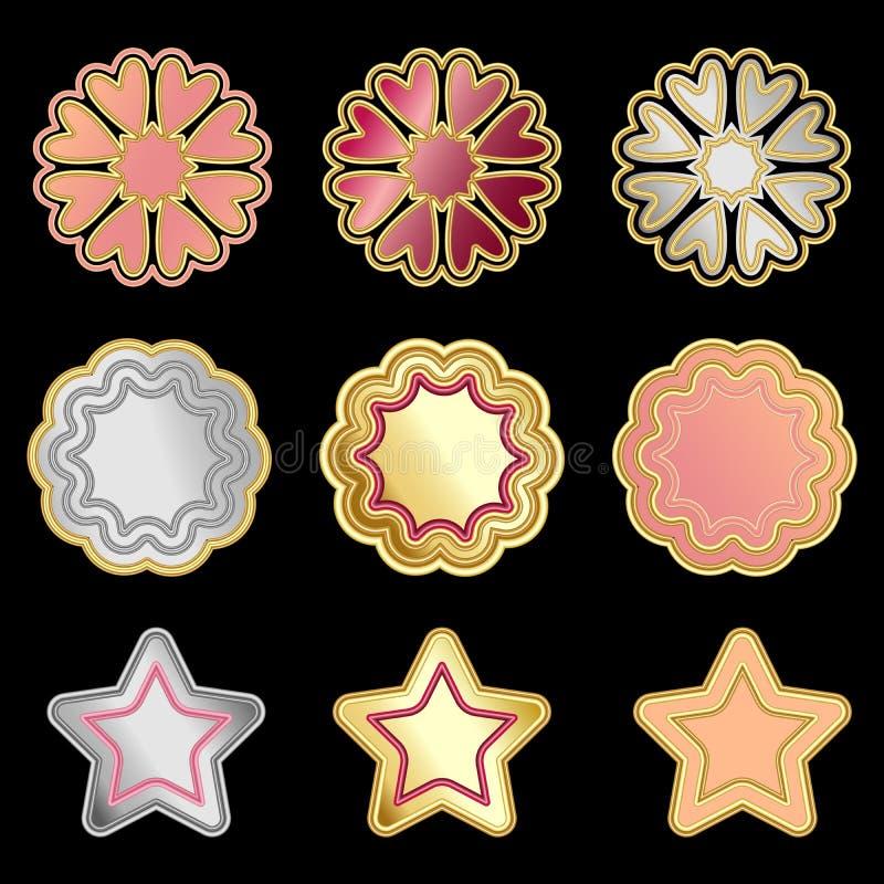 Kleurrijke vector metaaldiekentekens, sterren en bloemen op zwarte worden geïsoleerd stock illustratie