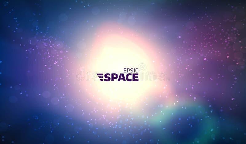 Kleurrijke vector ruimteachtergrond Gloeiende nevel en zon Abstract heelal stock illustratie