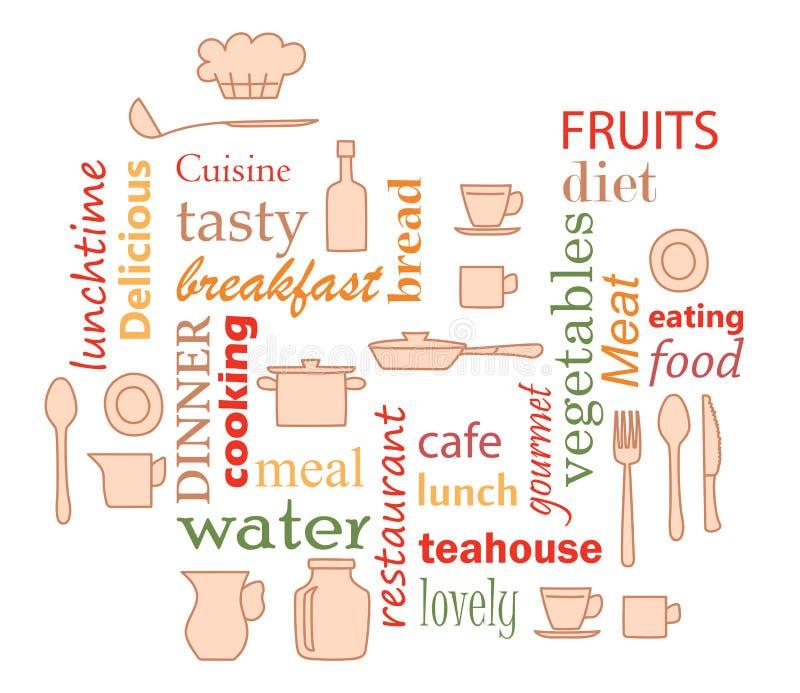 Kleurrijke vector - woordcollage voor keuken met keukengereipunten royalty-vrije illustratie