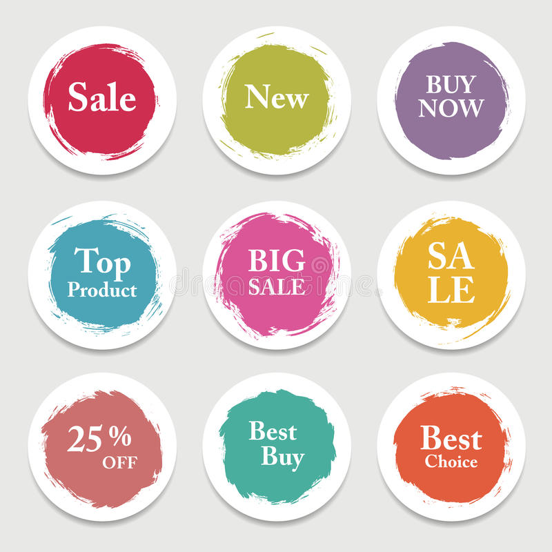 Kleurrijke vectordocument cirkel, sticker, etiket, banner met borstelslagen royalty-vrije illustratie