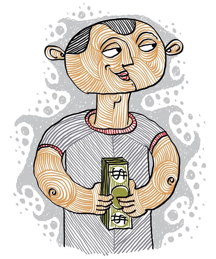 Kleurrijke vectorillustratie van een bankier, een persoon die een broodje houden royalty-vrije illustratie