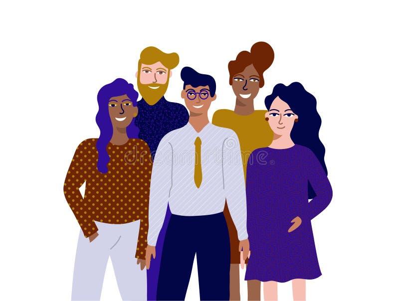 Kleurrijke vectorillustratie in vlak de groepsportret van de beeldverhaalstijl van grappige glimlachende beambten of bedienden di stock illustratie