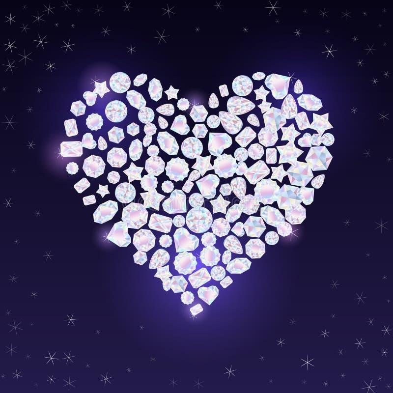 Kleurrijke vectorjuwelenhalfedelstenen en kristallen in de vorm van het Valentijnskaartenhart stock illustratie