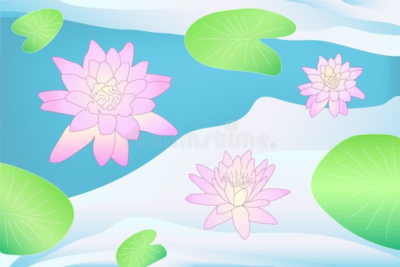 Kleurrijke vectorlotusbloem op het water met bladeren vector illustratie