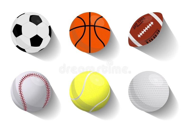 Kleurrijke vectorreeks van vliegend de pictogrammenbasketbal van sportballen, voetbal, Amerikaanse voetbal, honkbal, tennis, golf royalty-vrije illustratie