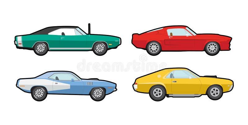 Kleurrijke vectorspierauto's stock afbeeldingen