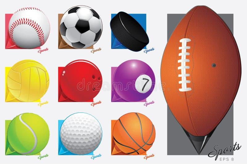 Kleurrijke vectorsportballen. kaartwijzer. eps 8 royalty-vrije illustratie
