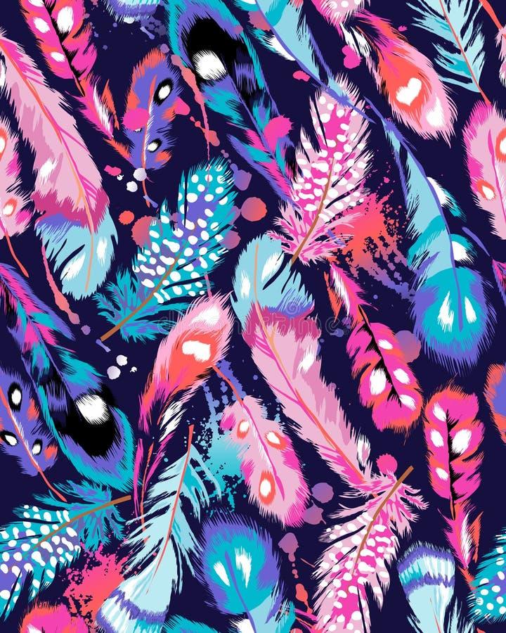Kleurrijke veerdruk stock illustratie