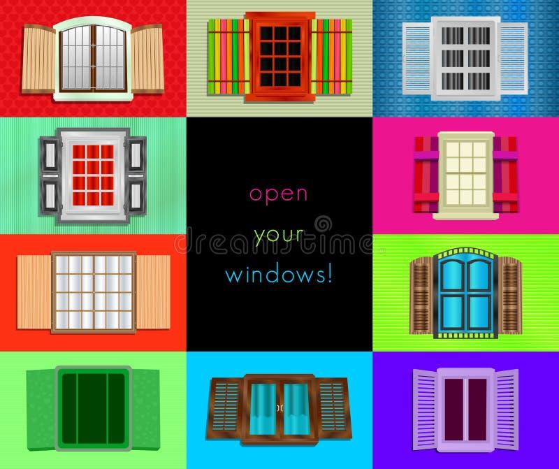 Kleurrijke vensters, vectorillustratie stock afbeeldingen