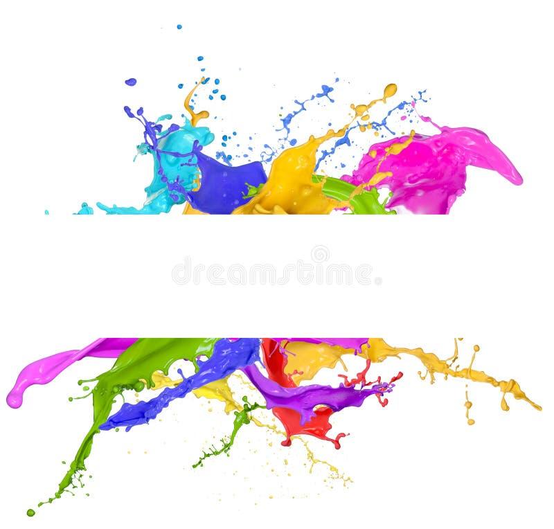 Kleurrijke verfplons stock afbeeldingen