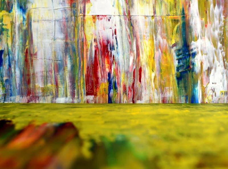 Kleurrijke verfplonsen Wanordelijke pigmentvlekken De voorgrond is onduidelijk Heldere Kleurrijke achtergrond royalty-vrije stock foto's