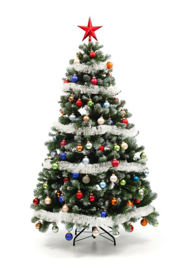 Kleurrijke verfraaide kunstmatige Kerstboom royalty-vrije stock afbeeldingen