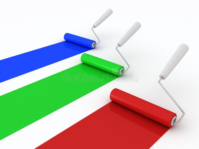Kleurrijke verfrollen op witte achtergrond vector illustratie