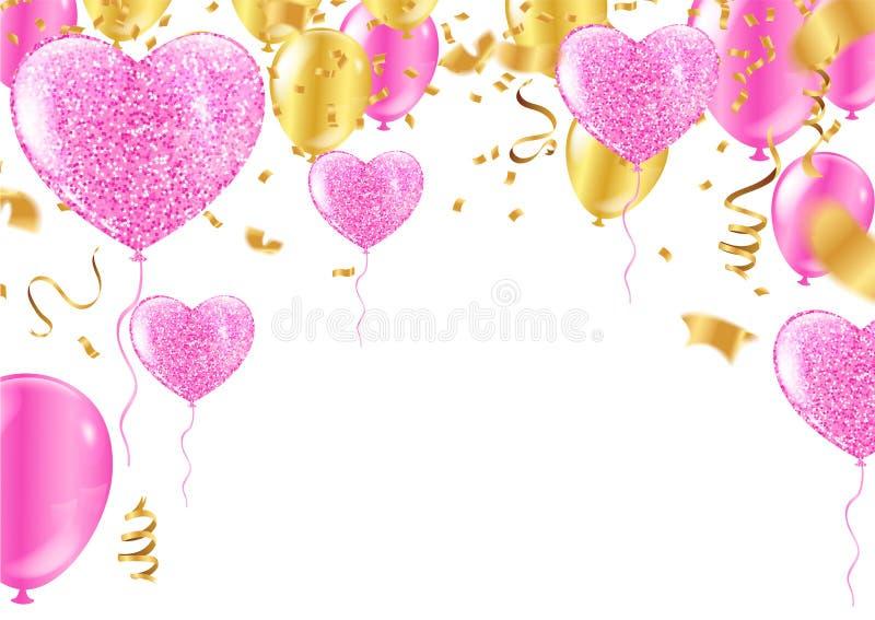 Kleurrijke verjaardagsballon met bunting vlaggen en confettien royalty-vrije illustratie