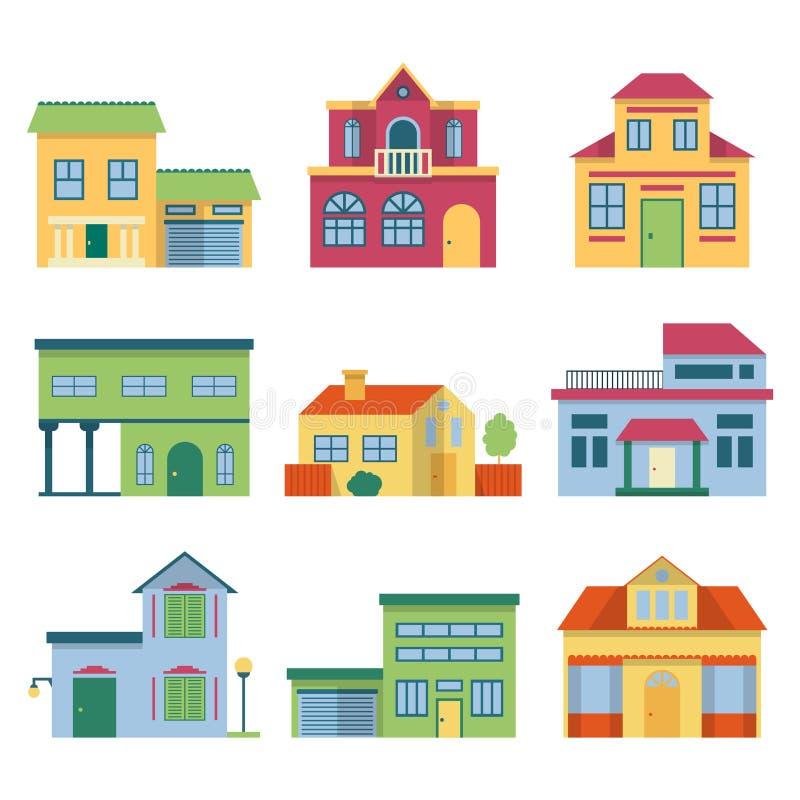 Kleurrijke verschillende huizen met moderne voorgevel Geplaatste vooraanzicht vectorillustraties royalty-vrije illustratie