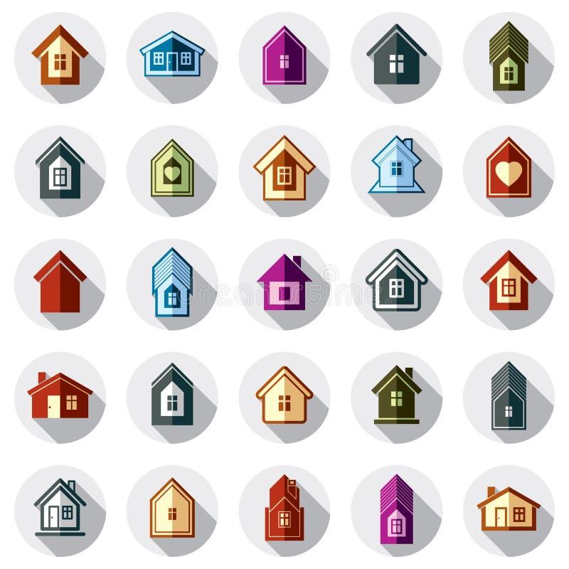 Kleurrijke verschillende huizenpictogrammen voor gebruik in grafisch ontwerp, reeks stock illustratie