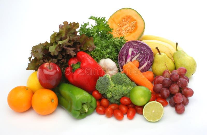 Kleurrijke verse groep groenten en vruchten royalty-vrije stock foto's