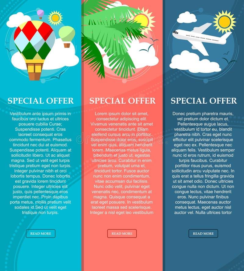 Kleurrijke verticale banners op het thema van reis en vakantie met plaats voor uw tekst Vlakke stijl Vector royalty-vrije illustratie