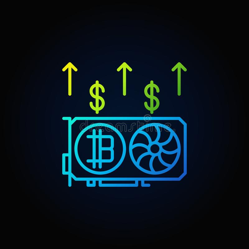 Kleurrijke videokaart die digitaal het conceptenpictogram ontginnen van het geldoverzicht royalty-vrije illustratie
