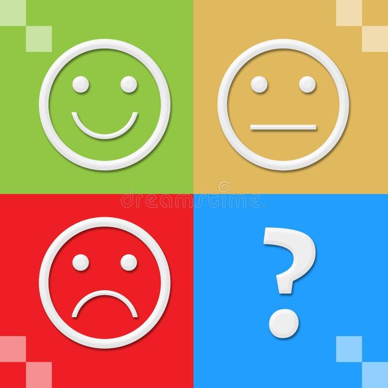 Kleurrijke Vier Blokken van glimlach de Neutrale Droevige Gezichten stock illustratie