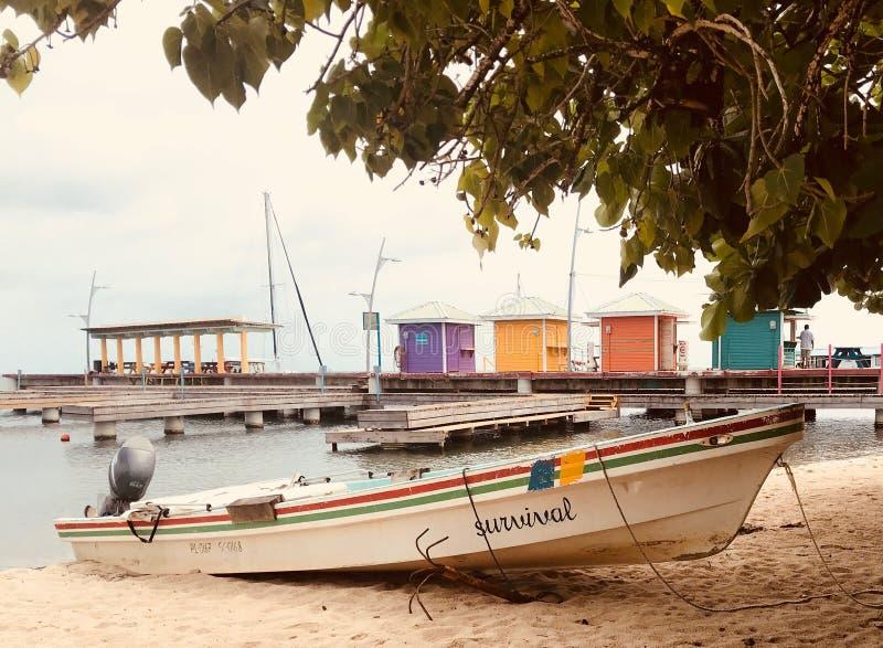 Kleurrijke vissersboot, dok, strand en visserijhutten langs promenade stock afbeeldingen