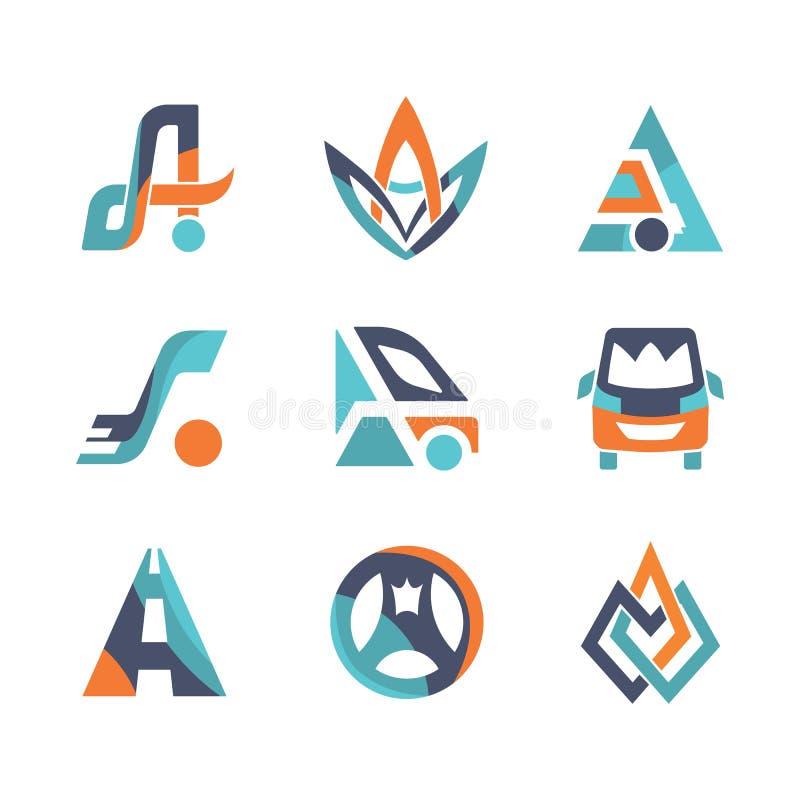 Kleurrijke vlakke geplaatste het embleemmalplaatjes van het ontwerp Vectorvervoer vector illustratie