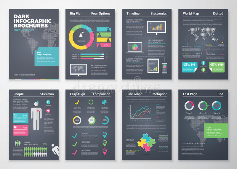Kleurrijke vlakke infographic brochures met donkere achtergrond stock illustratie