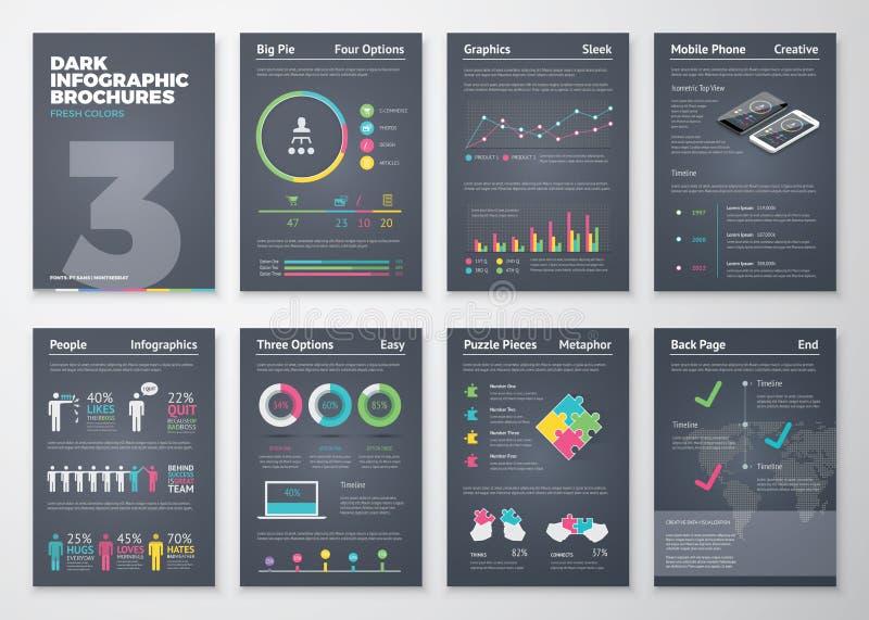 Kleurrijke vlakke infographic malplaatjes op donkere achtergrond stock illustratie