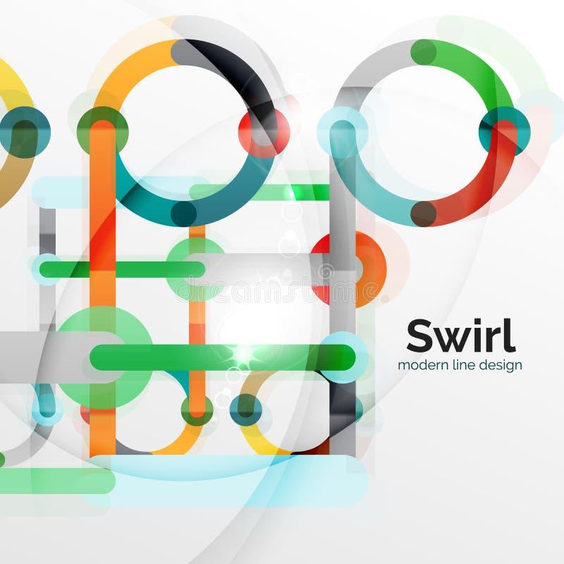 Kleurrijke vlakke ontwerp abstracte achtergrond Werveling en cirkel gestalte gegeven lijnen op wit stock illustratie