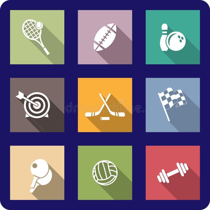 Kleurrijke vlakke sportieve pictogrammen stock illustratie