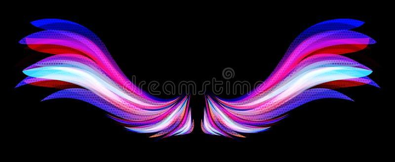 Kleurrijke vleugels stock illustratie