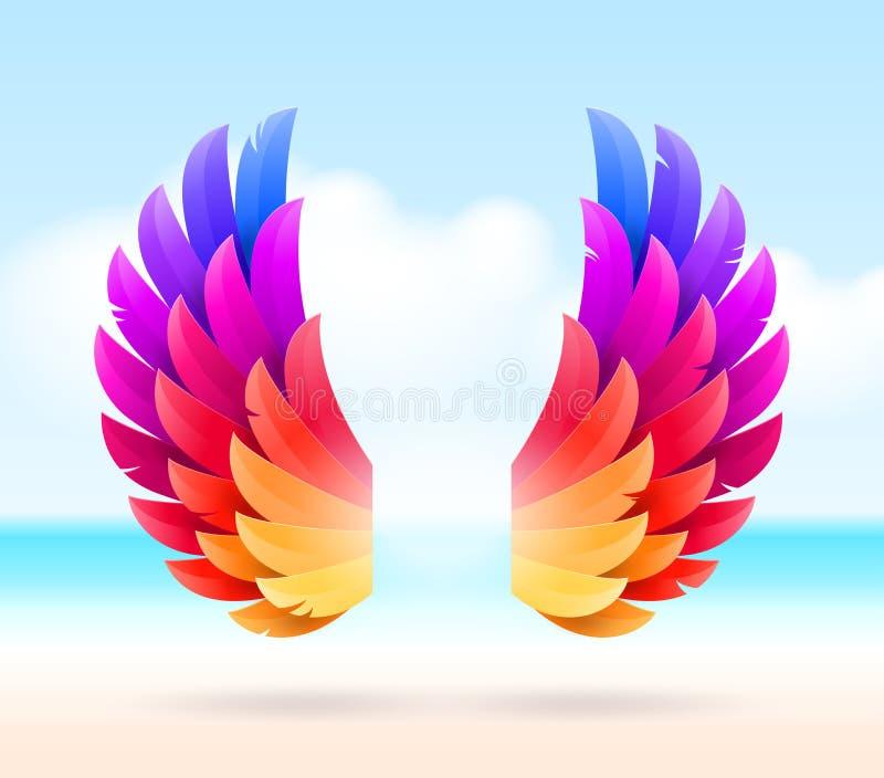 Kleurrijke vleugels op een tropische overzeese kust vector illustratie